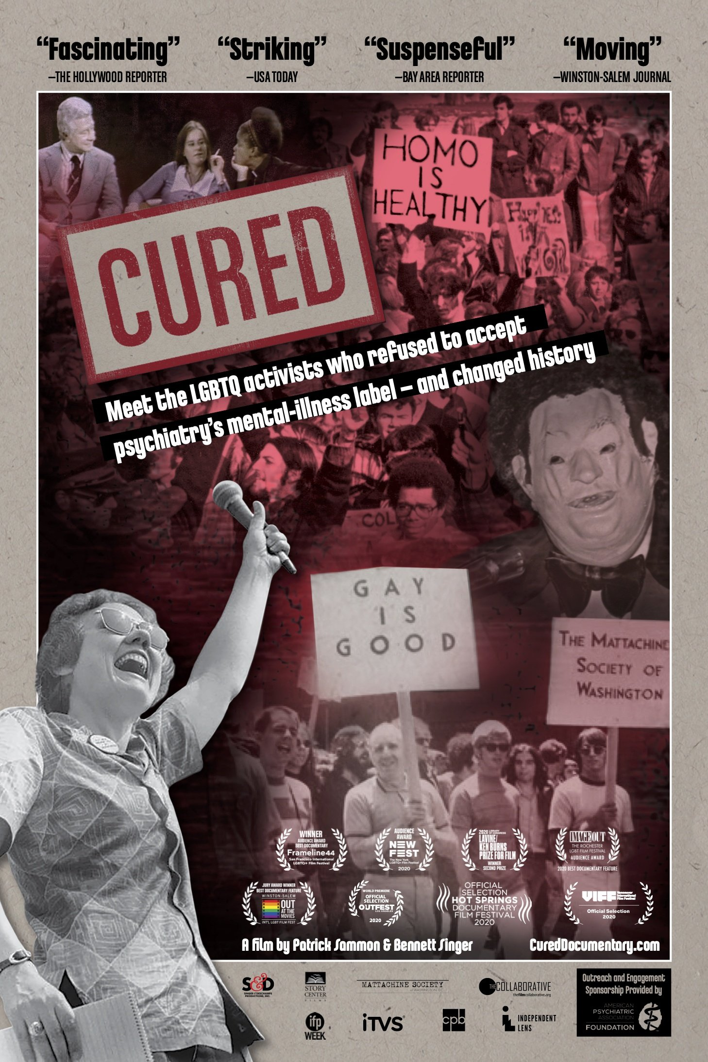 CURED poster with Barbara's hand raised up